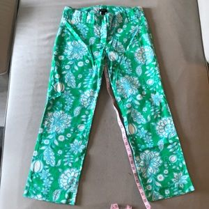 Green and blue floral patterned capris J. Crew